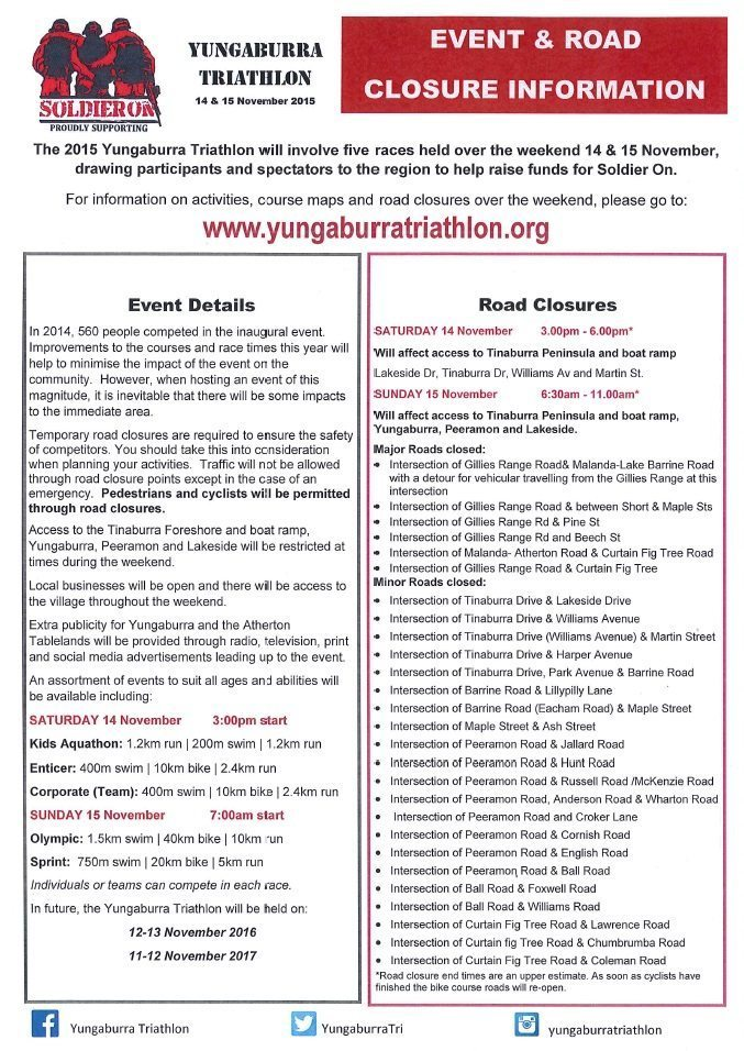 Yungaburra Triathlon 2015 Road Closures